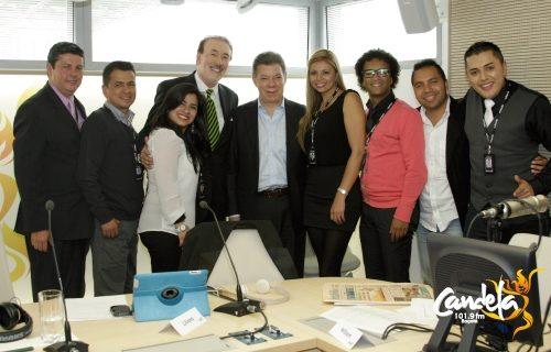 El Presidente Santos visitó el nuevo estudio de Candela