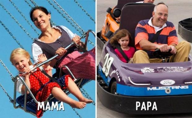 5 mama vs papa en parque de diversiones