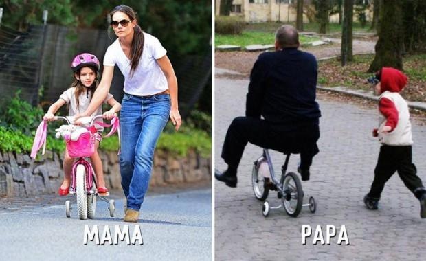 9 mama vs papa ensenando a andar en bici