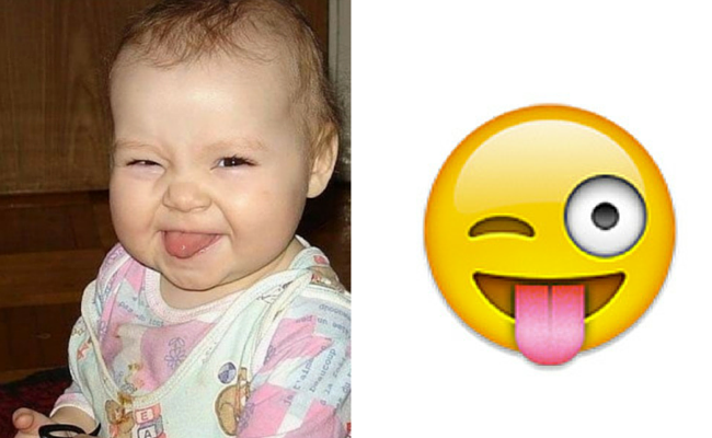 bebe guinando ojo lengua afuera emoji