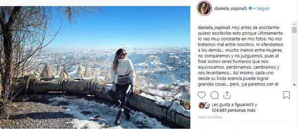 Print de pantalla de Instagram de Daniela Ospina