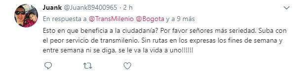 Comentario de un usuario de TransMilenio