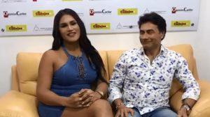 Mauro Urquijo y su nueva pareja, Maria Gabriela Isler, concediendo una entrevista
