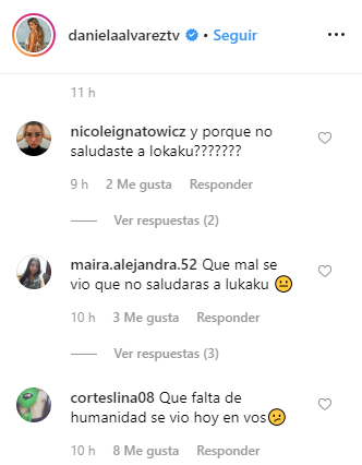 Seguidores de Daniella Álvarez le reclaman por el momento polémico con Lukaku