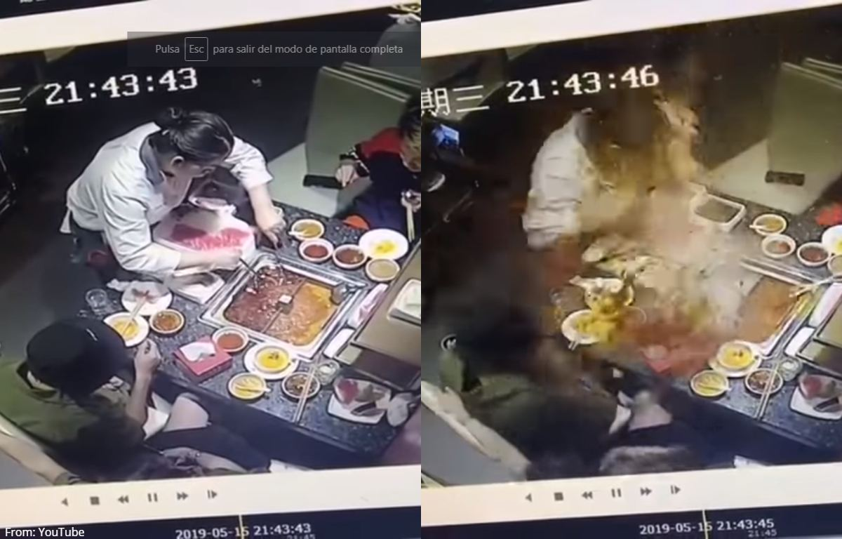 (VIRAL) Accidente con sopa hirviendo quema cara de mesera