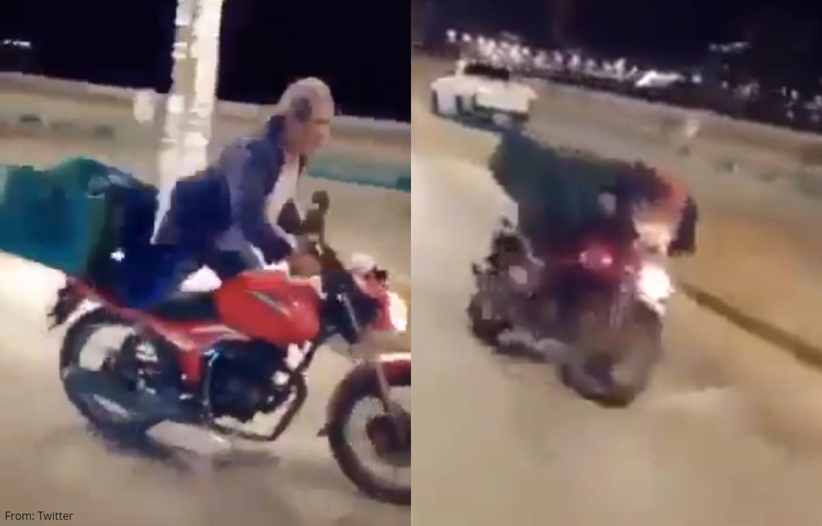 (Viral) Anciano sufre accidente en moto por querer impresionar