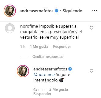 Andrea Serna responde a comparaciones de un usuario