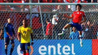 Jugador chileno calienta el partido contra la Selección Colombia