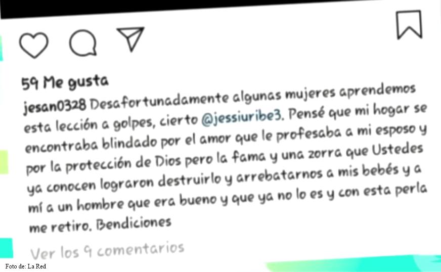 Mensaje de la esposa de Jessi Uribe