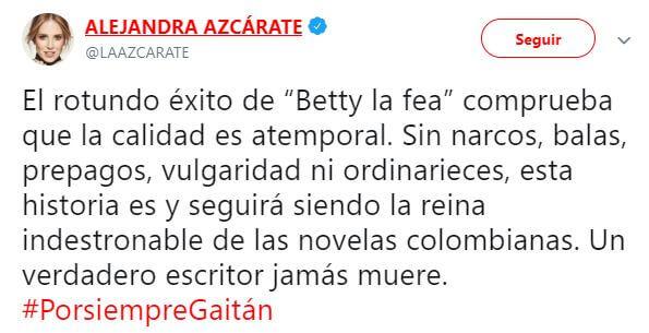 tweet de Alejandra Azcárate