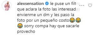 Comentario de Alex Sensation en la foto de Jessi Uribe
