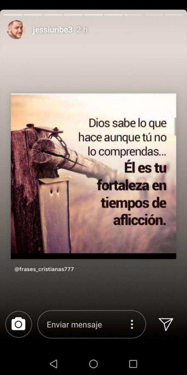 Imgagen que publicó Jessi Uribe sobre Dios