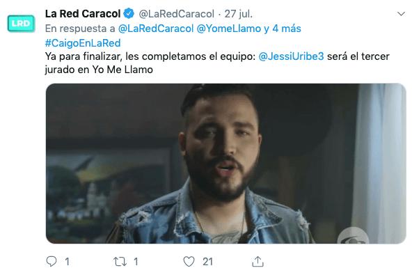 Tweet de la red sobre uno de los jurados de yo me llamo 2019