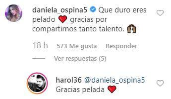 Comentario de Daniela Ospina en la foto de Harold Jiménez