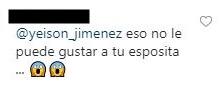 comentario a Yeison Jiménez de la esposa