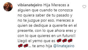Comentario de la mamá de Lina Tejeiro