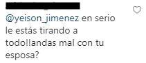 Comentario de lo que escribió Yeison Jiménez