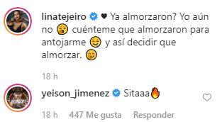 Comentario de Yeison Jiménez a Lina Tejeiro