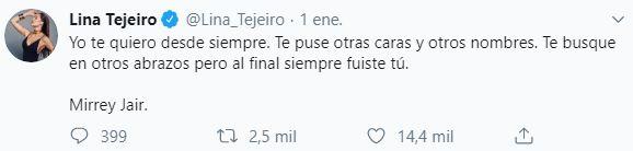 Comentario de Lina Tejeiro que parece para Andy Rivera