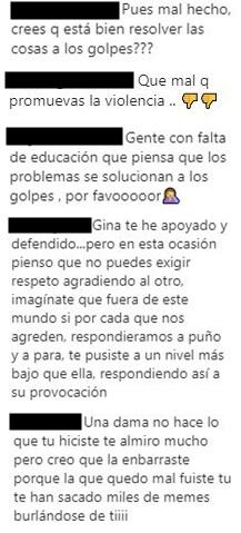Comentarios al mensaje de Yina Calderón