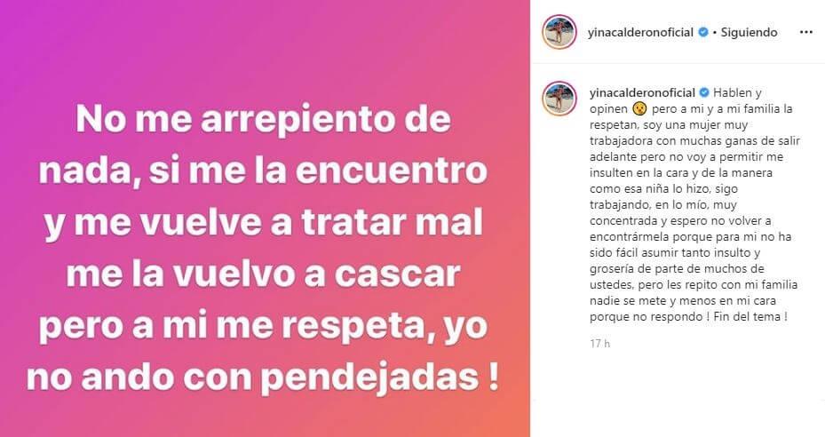 Publicación de Yina Calderón
