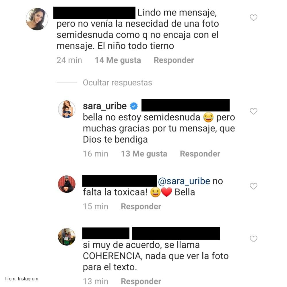 Usuaria critica a Sara Uribe por mostrar de más en un sentido mensaje