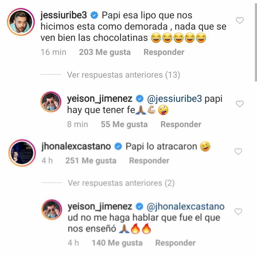 Comentarios entre Jessi Uribe, Jhon Alex Castaño y Yeison Jiménez por la lipo del caldense