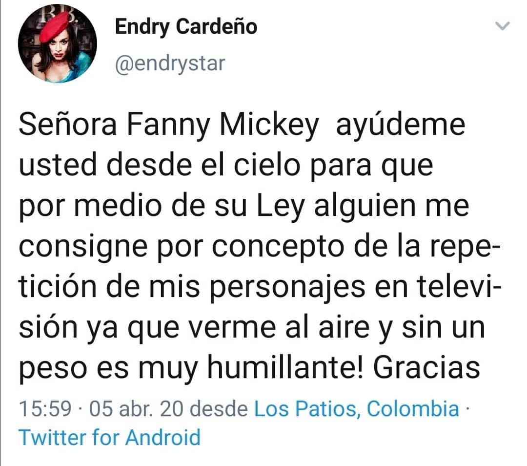 Endry Cardeño pide a RCN que le paguen por retransmitir Los Reyes