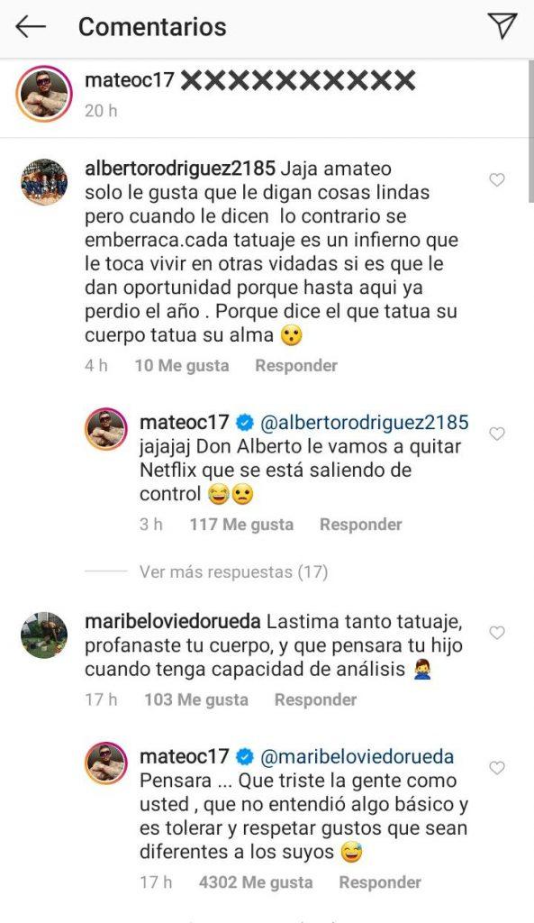 Mateo Carvajal responde a críticas por tener tantos tatuajes