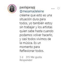 Paola Jara pasa por mal momento económico a causa de cuarentena