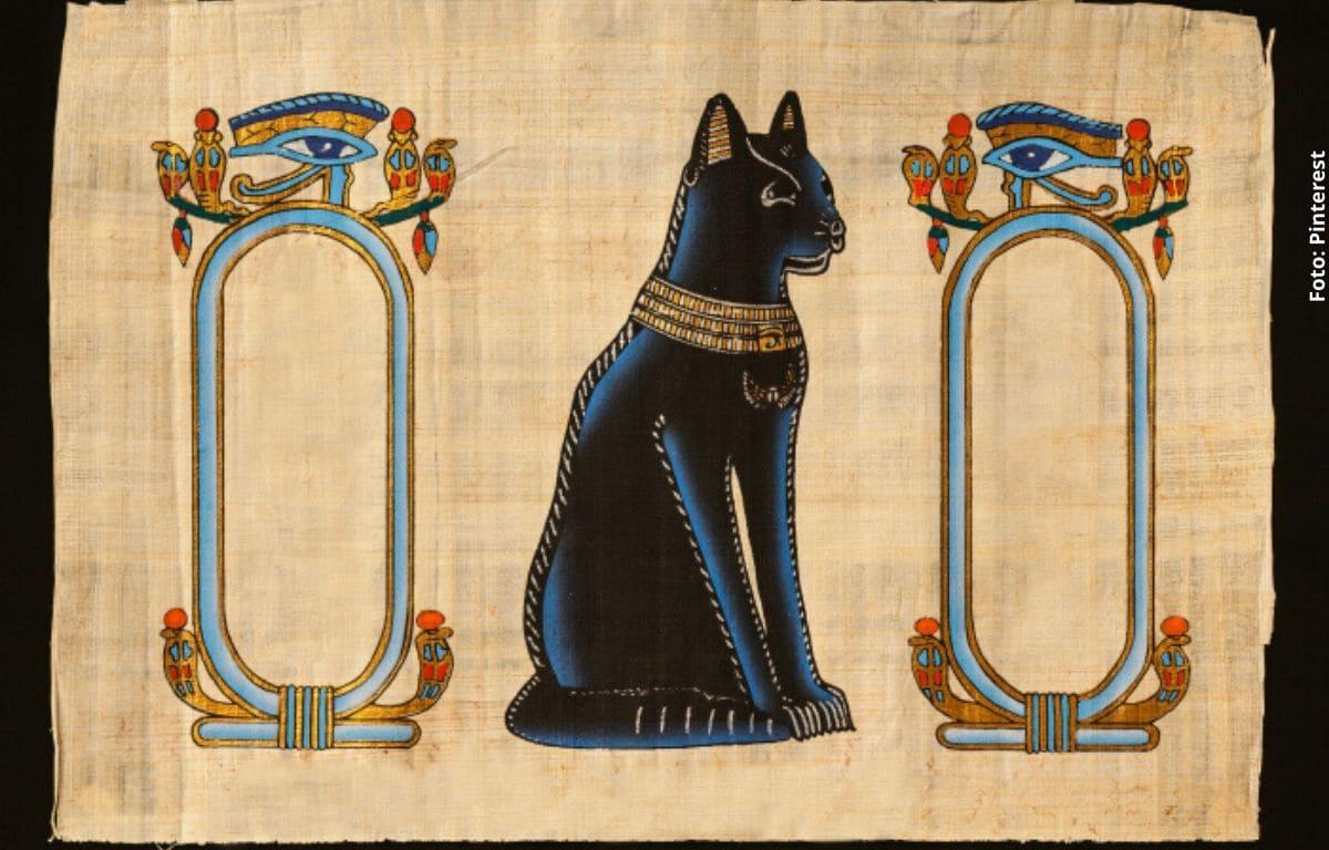 dibujo egipcio de un gato negro