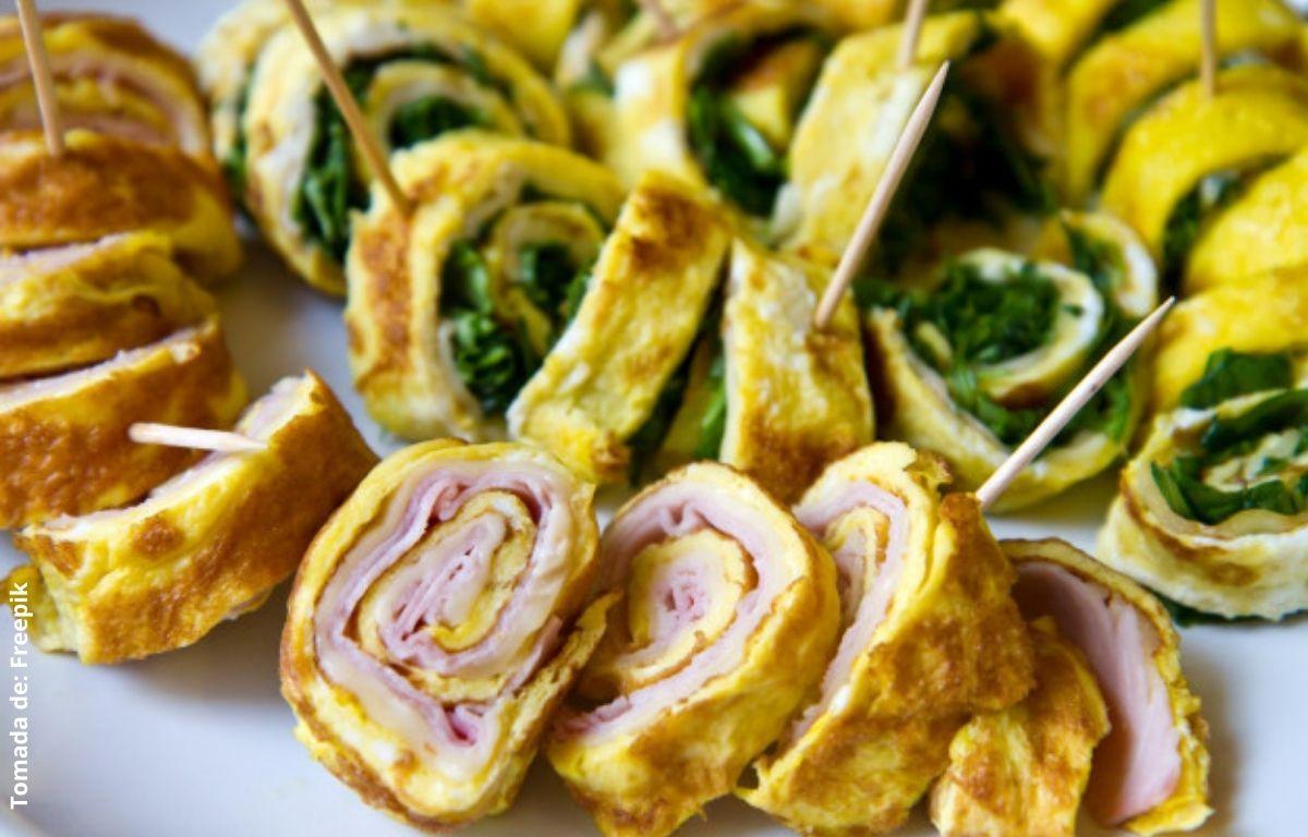 omelette de huevo jamón y espinaca