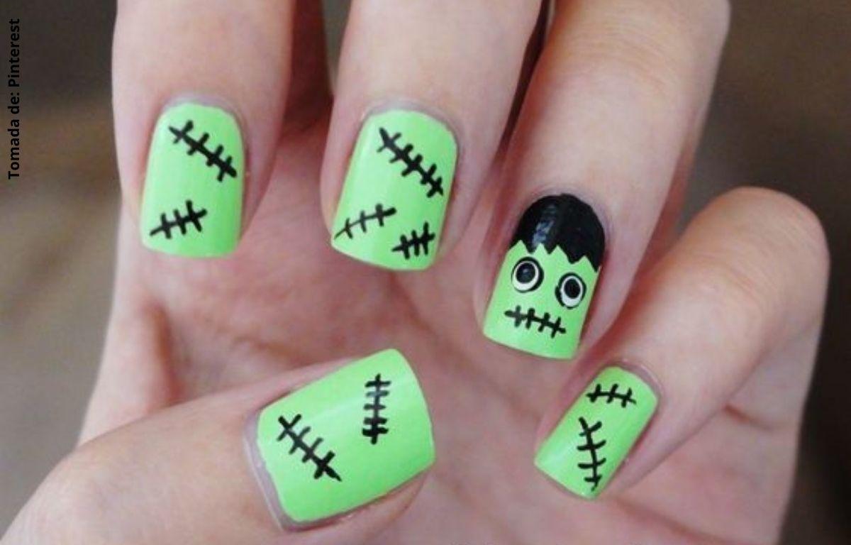 uñas decoradas con Frankenstein