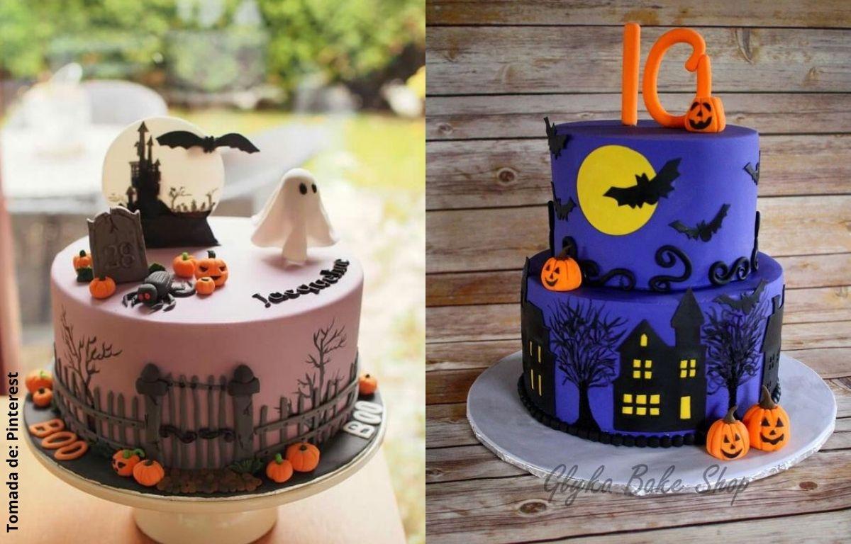 tortas decoradas con castillos, calabazas, fantasmas