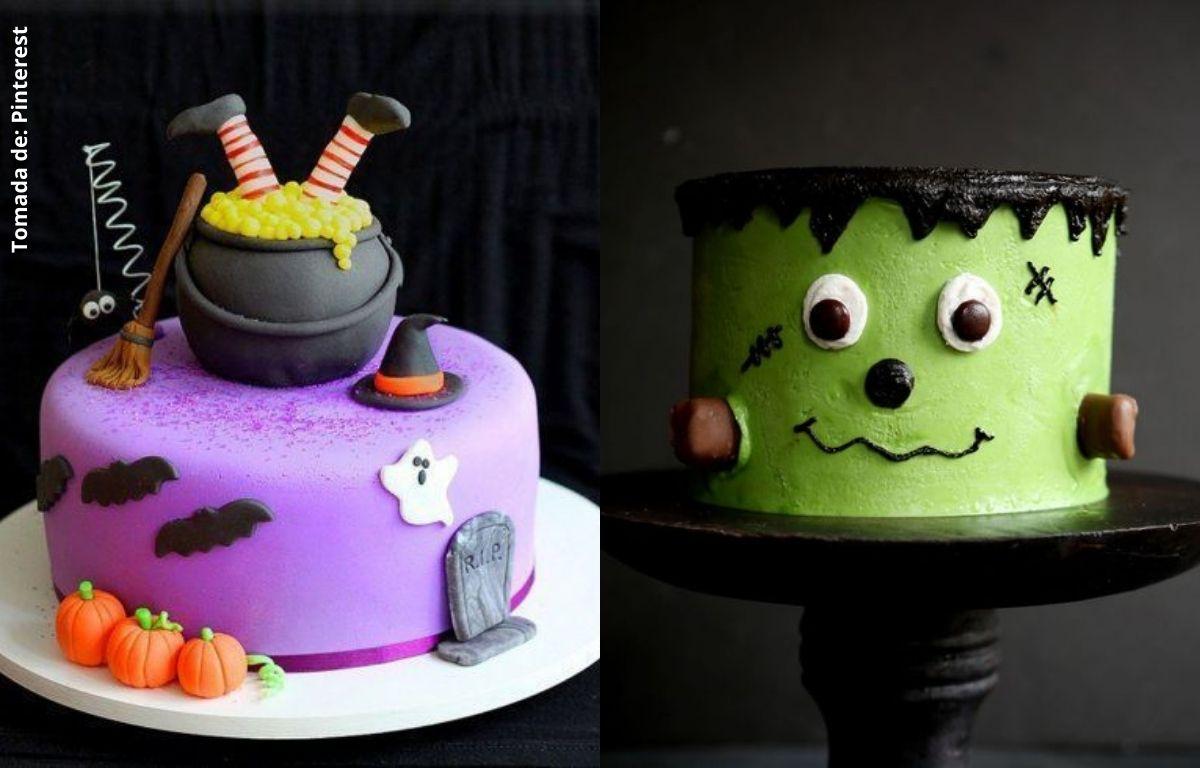 tortas decoradas con escobas, calabazas, murciélagos, fantasmas y caras
