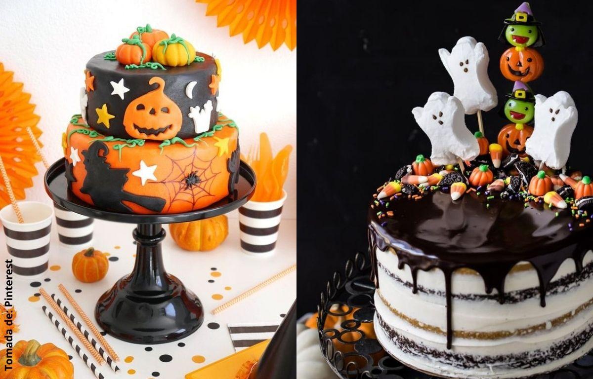 tortas decoradas con calabazas, fantasmas