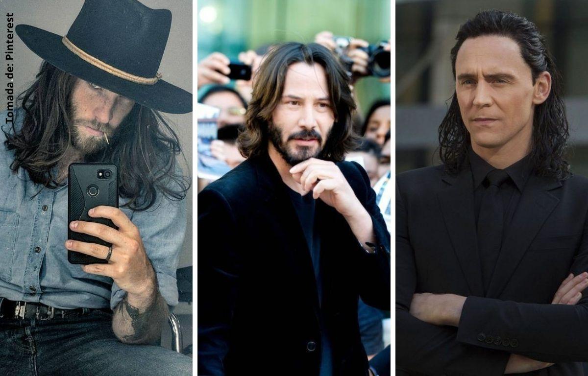 hombres con cabello largo