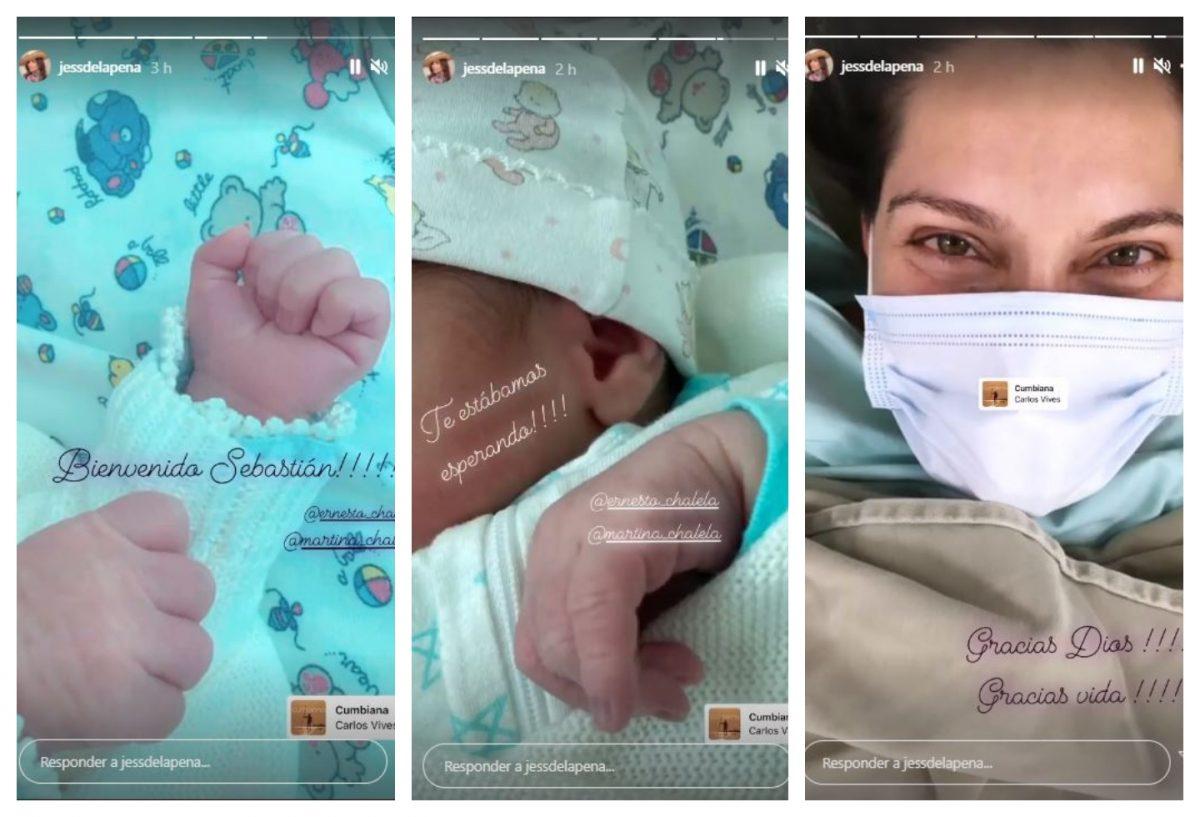 fotos de una mujer con tapabocas y un bebé