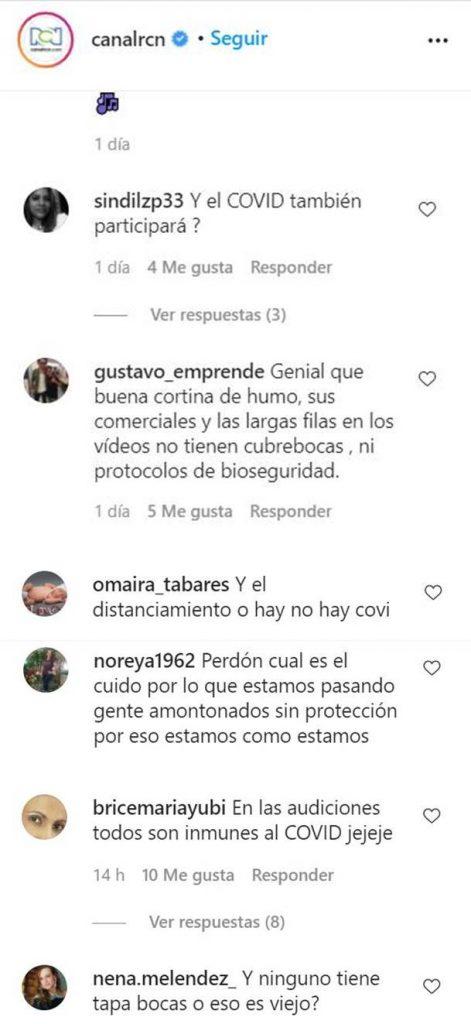 Print de comentarios en el Instagram del Canal RCN
