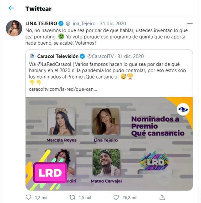 Print de Twitter de Lina Tejeiro