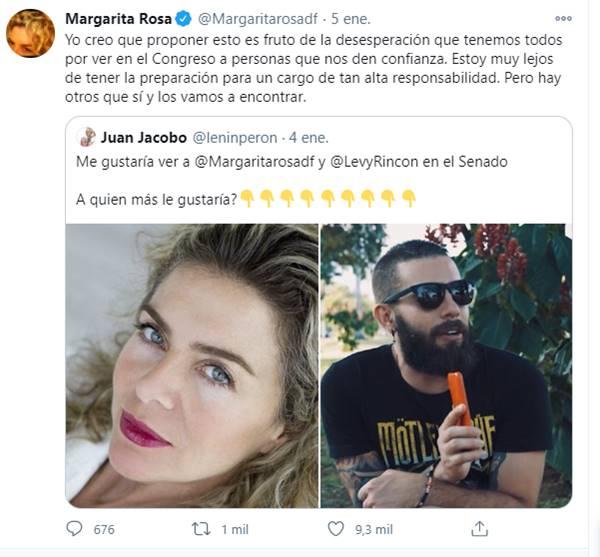 Respuesta en Twitter de La Mencha a postulación al Congreso