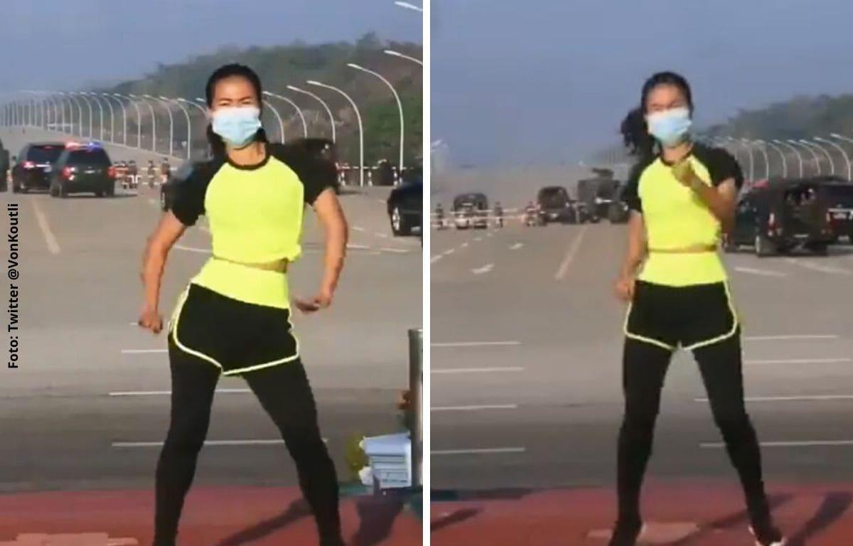 Mujer graba clase de aeróbicos en pleno golpe de Estado