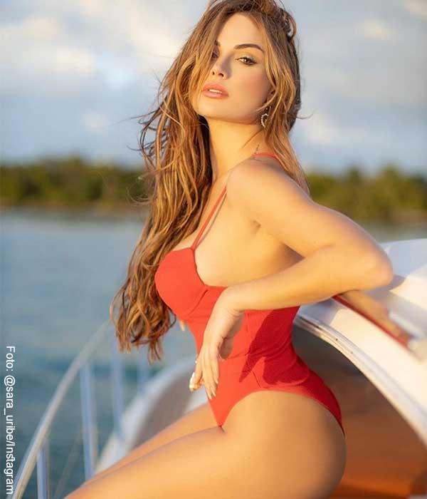 Sara Uribe lució atractivo vestido de baño rojo, ¡y antojó a sus fans!