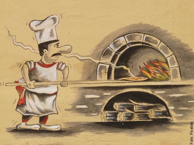 ilustración de hornear pizza