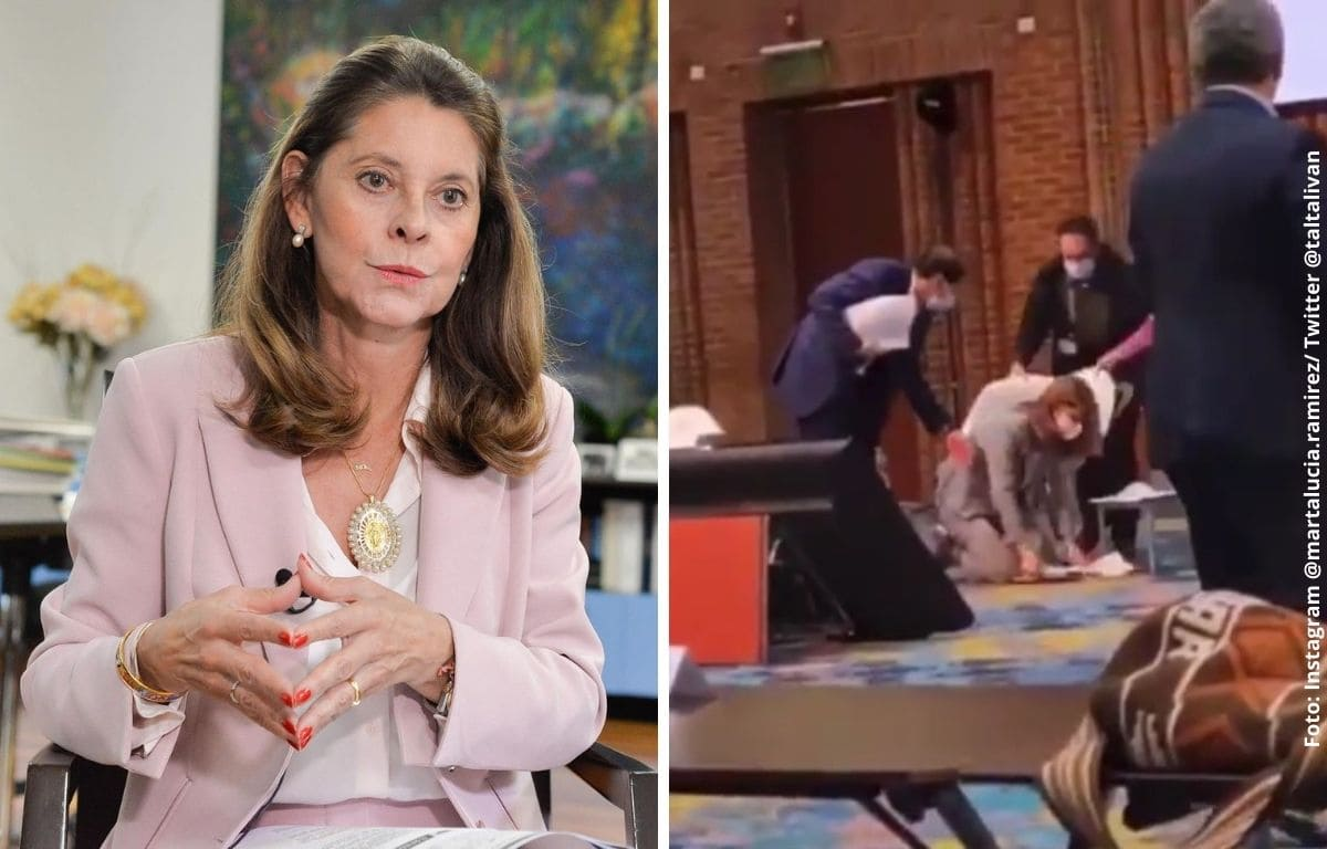 Marta Lucía protagonizó caída en medio de discurso de Iván Duque