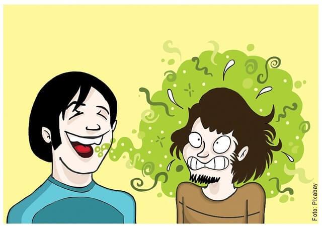 ilustración de persona con mal aliento
