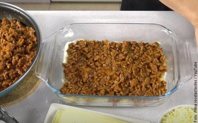 foto de preparación de lasaña