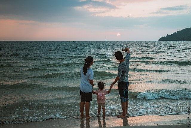 foto de familia en la playa