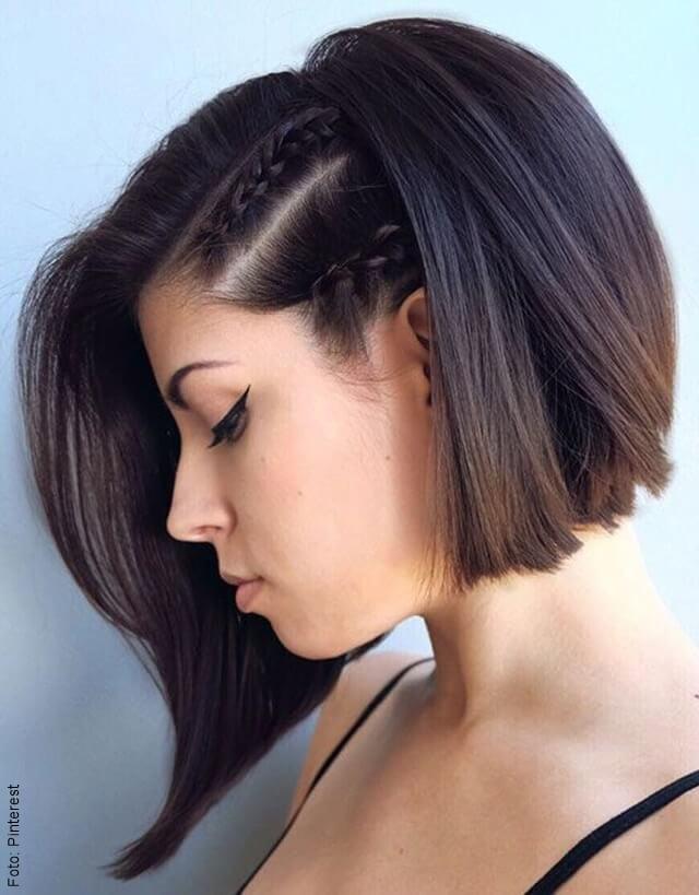 foto de trenza de cabello corto