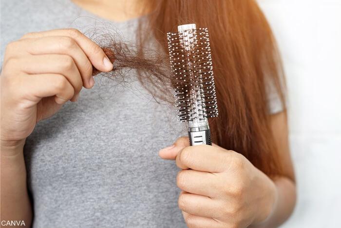 Foto de cabello arrancado de cepillo